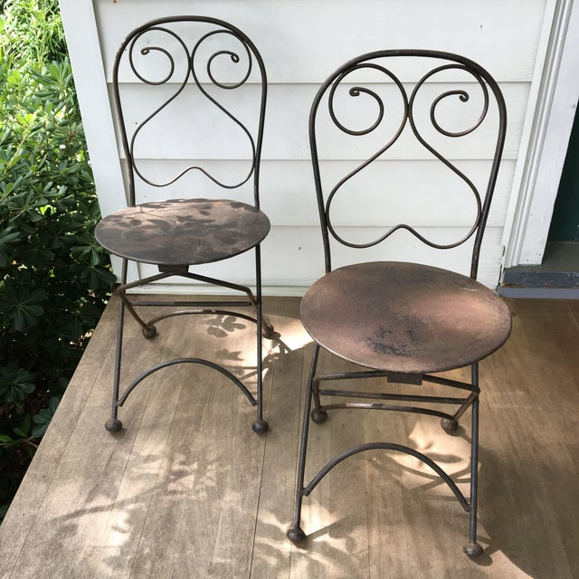 Vintage Iron Folding Chairs - A Pair - Image 5 of 6