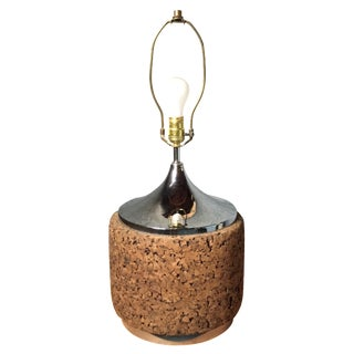 Mid-Century Modern Cork & Chrome Lamp
