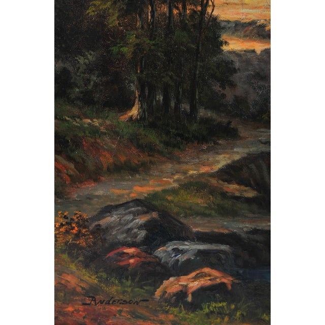 """19th C. Hudson River School """"Waterfall Landscape"""" Oil Painting - Image 4 of 9"""