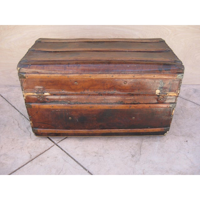 Antique Rustic Embossed Leather & Wood Trunk - Image 7 of 9