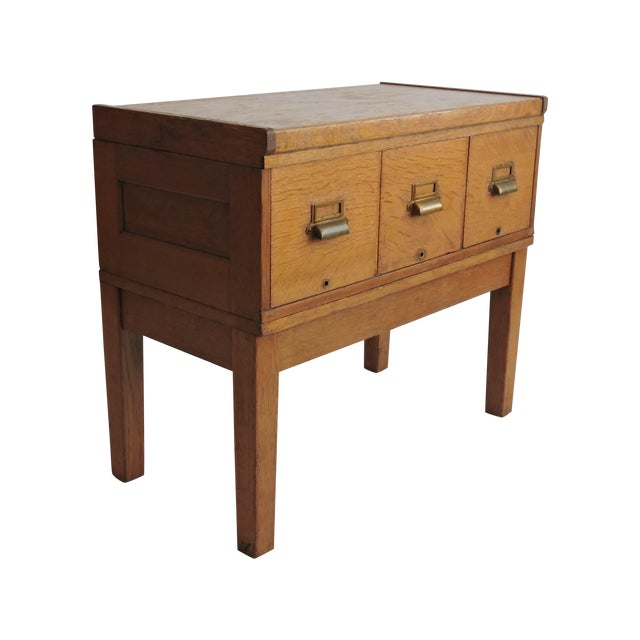 Tiger Oak Filing Cabinet Library Table Circa 1919 - Image 1 of 5