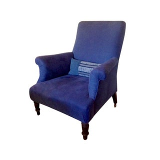 Armchair Covered in Vintage Indigo Fabric