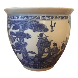 Large Vintage Asian Blue & White Urn