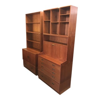 Danish Modern Teak Two Stack Wall Unit Carlo Jensen for Poul Hundevad