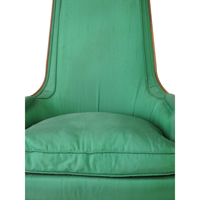 Mid-Century Emerald Highback Lounge Chair - Image 4 of 6