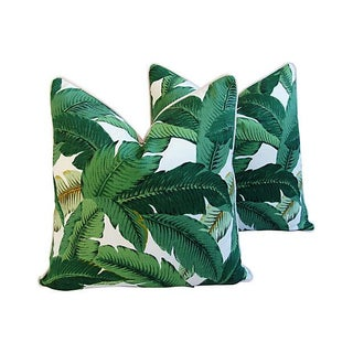 Large Tropical Iconic Banana Leaf Feather/Down Pillows - a Pair