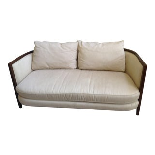 Modern Wood Trim Beige Cotton Sofa