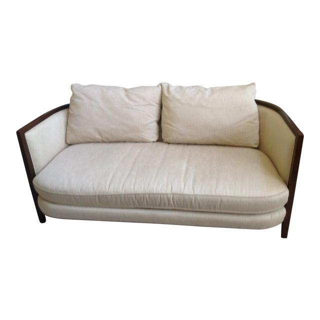 Modern Wood Trim Beige Cotton Sofa Chairish