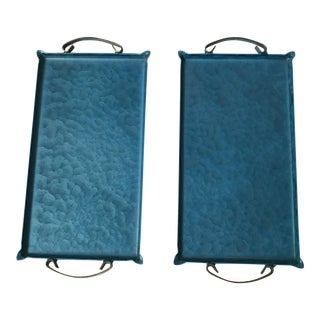Blue Moire Glazed Trays - A Pair