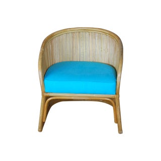 Vintage Rattan Reed Blue Cushion Barrel Chair