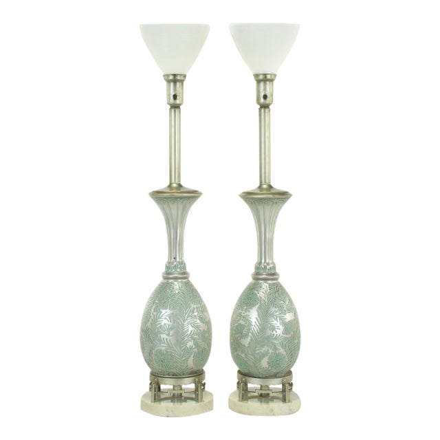 Pair Reverse Silvered & Hand Painted Glass Table Lamps - Image 1 of 8