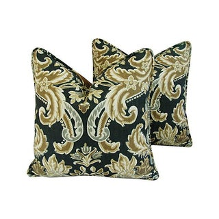 Desginer Kravet Lutron Damask Linen Pillows - Pair
