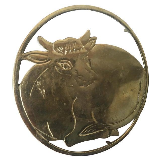 Vintage Solid Brass Sitting Cow Potholder Decor - Image 1 of 4