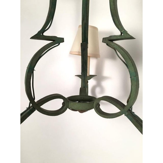Image of French Green Metal Chandelier in the Manner of Gilbert Poillerat