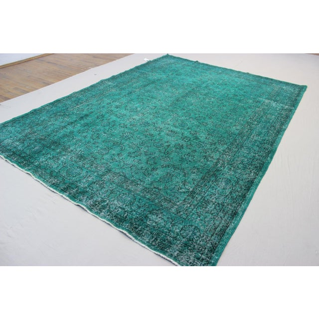 """Vintage Over-Dyed Teal Rug - 7'6"""" x 10'9"""" - Image 6 of 9"""