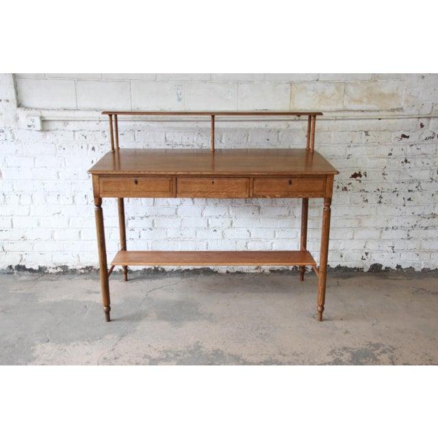 Antique Quarter Sawn Oak Railroad Standing Desk - Image 3 of 11 - Antique Quarter Sawn Oak Railroad Standing Desk Chairish