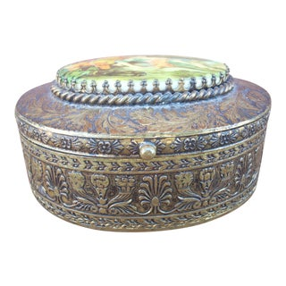 Brass Box With Ceramic Medallion