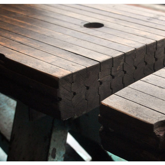 Rustic Industrial-Inspired Reclaimed Wood Bench - Image 4 of 5