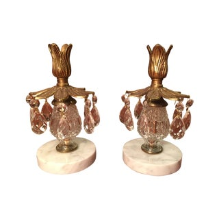 Crystal Pendant Candlesticks - A Pair