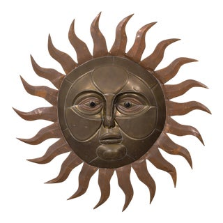 A Sergio Bustamante Brass and Copper Sun Wall Sculpture 1970s