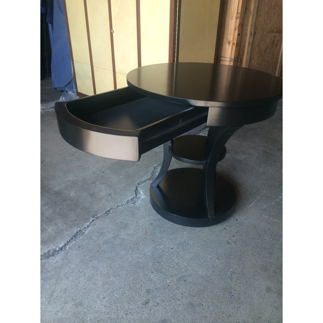 Round Black Lacquered Side Table - Image 4 of 6