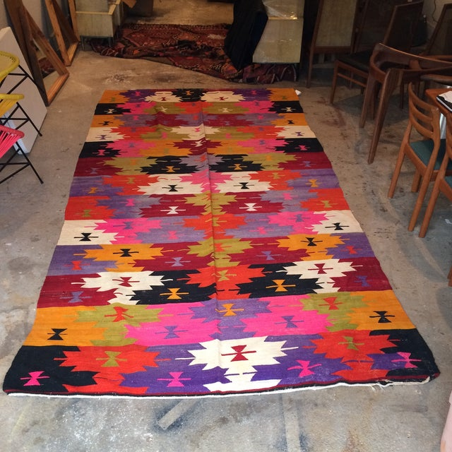 "Turkish Anatolian Kilim Rug - 6'5"" X 12'10"""