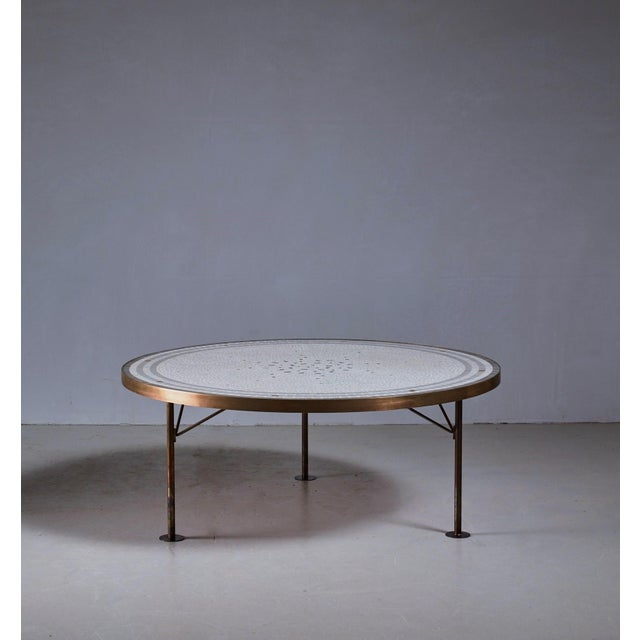 Image of Berthold Muller round mosaic coffee table, Germany, 1960s