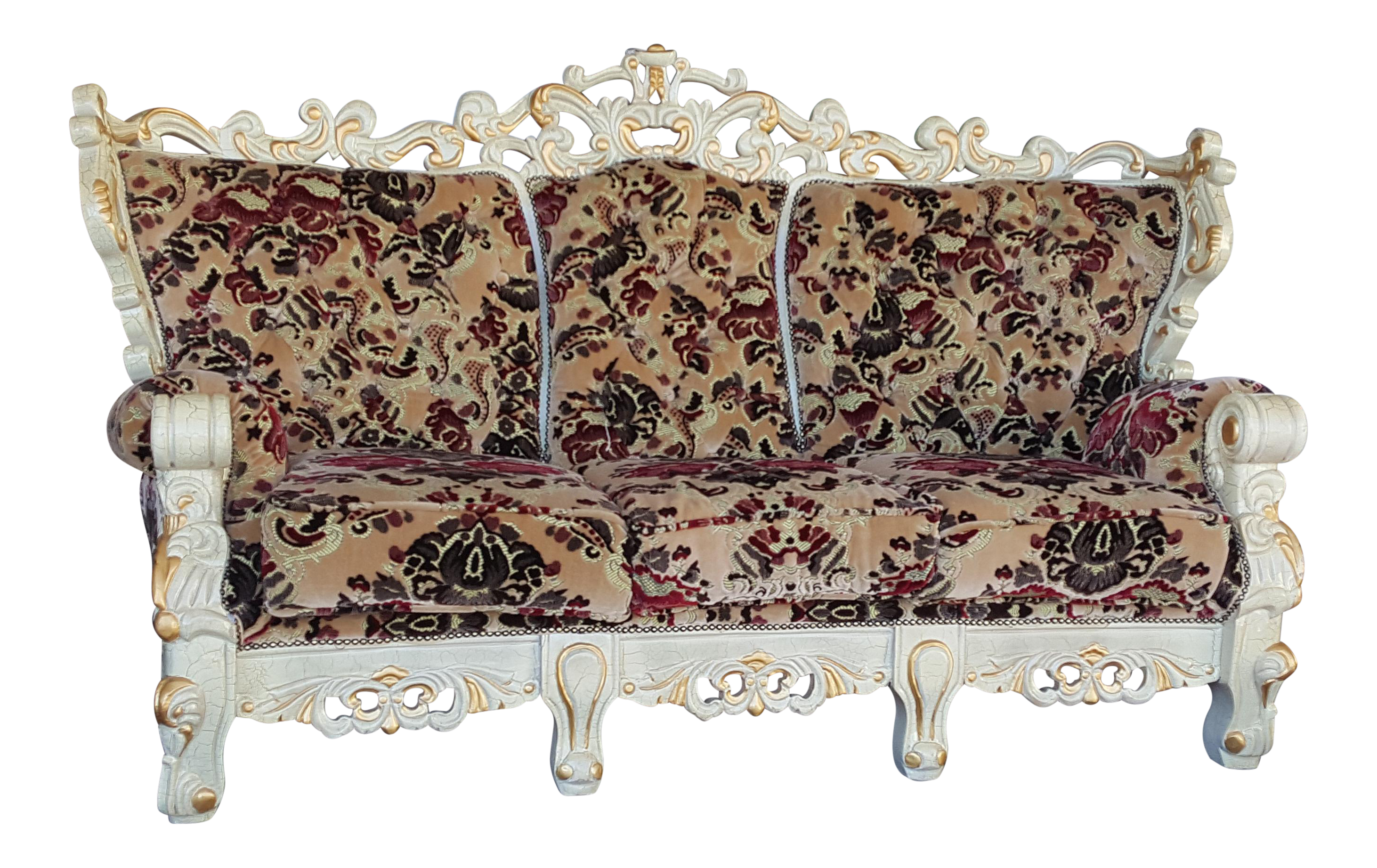 Vintage Victorian Style Floral Velvet Carved Wood Sofa   Ivory And Gold  Couch   Image 1