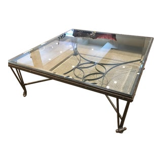 Iron Cocktail Table with Glass Shelf