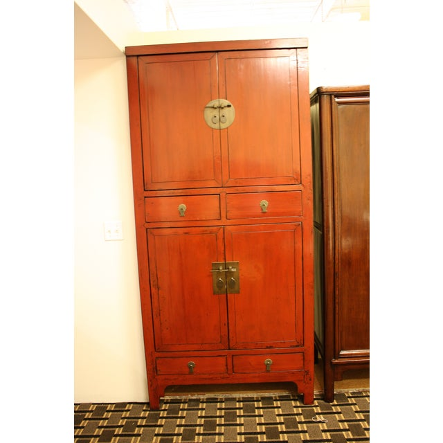 McGuire Asian Antiquity Red Black Lacquer Cabinet - Image 6 of 9