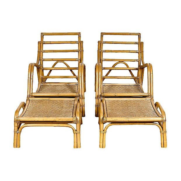 Image of Vintage 1950s Rattan Loungers & Ottomans - A Pair