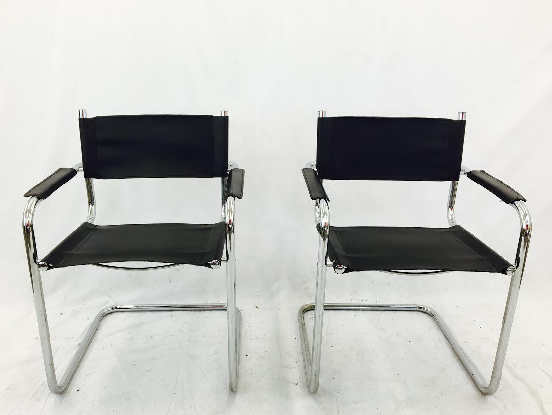 Mart Stam S34 Chrome U0026 Black Leather Chairs   Pair   Image 3 ...