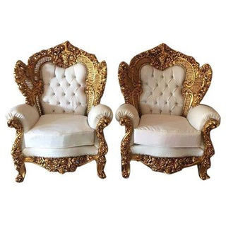 Rococo Style White Armchairs - A Pair
