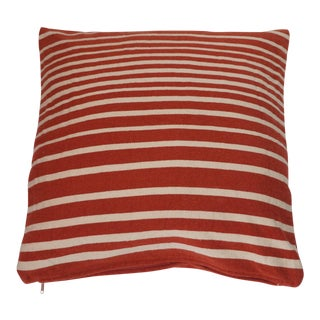 Large Wool Red & White Striped Floor Cushion