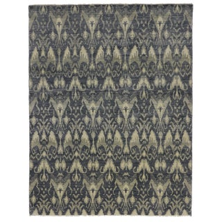 Transitional Blue Ikat Rug with Modern Style, 07'10 x 10'02
