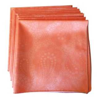 Orange Paisley Dinner Napkins - Set of 8