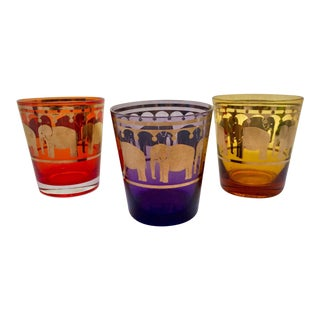 Vintage Moroccan Colorful Elephant Tea Glasses- Set of 3