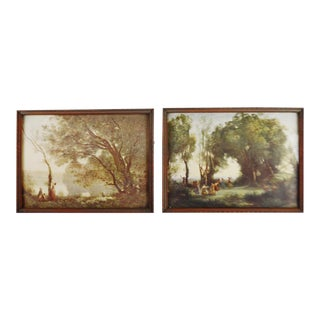 Jean Baptiste Camille Corot Framed Prints - A Pair
