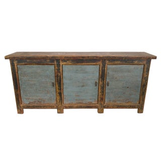 Antique Blue Black Gansu 3 Door Sideboard