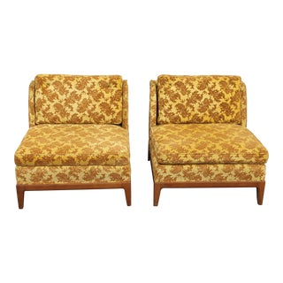 1950s Vintage Velvet Winged Sided Lounge Chairs - a Pair