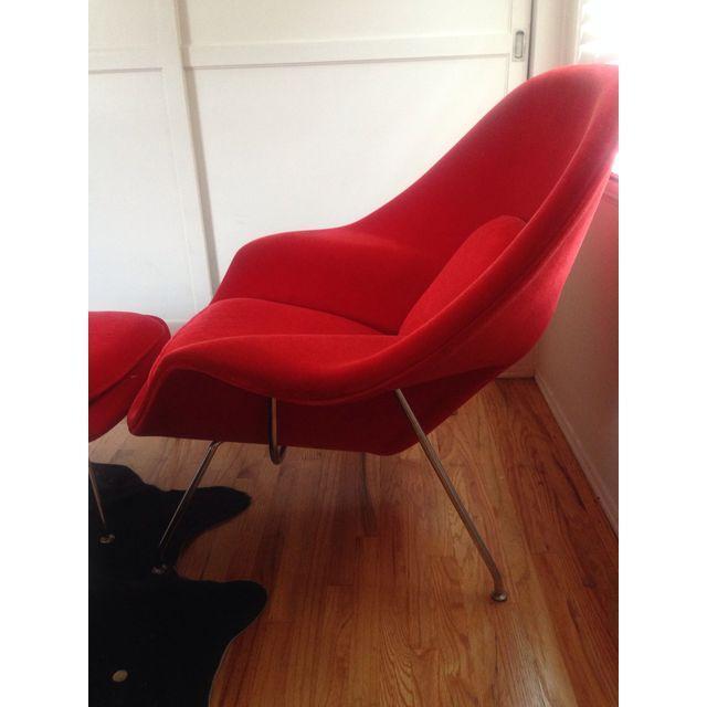 Saarinen Vintage Red Womb Chair & Ottoman - Image 2 of 4