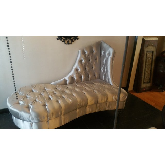 Image of Silver Tufted Chaise Lounge