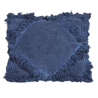 Indigo Diamond Fringe Pillow