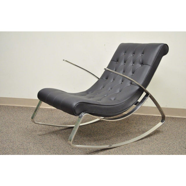 Contemporary Modern Chrome Steel Rocker Rocking Lounge Chair Mid Century Style - Image 9 of 10