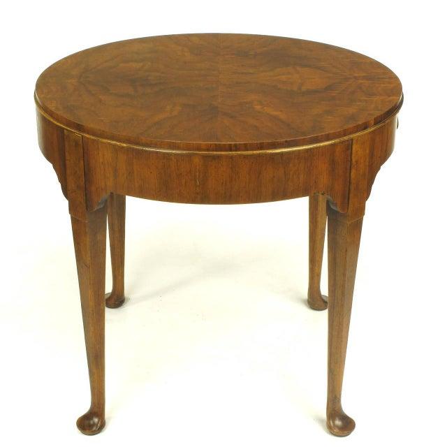 """Baker Furniture """"Milling Road"""" Figured Walnut Regency Side Table - Image 3 of 10"""