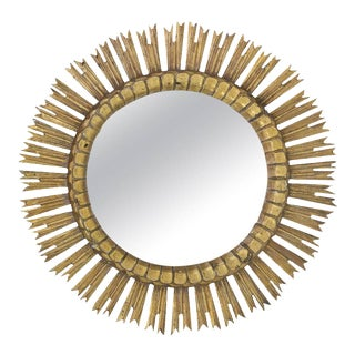 Spanish, 1950s Giltwood Sunburst Mirror with Carved Frame