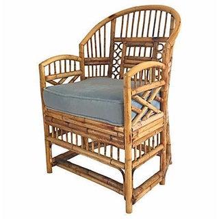 Bamboo Barrel Chair With Velvet Cushion