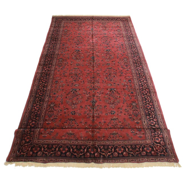 "RugsinDallas Persian Sarouk Wool Rug - 9'7"" X 23'5"" - Image 2 of 2"