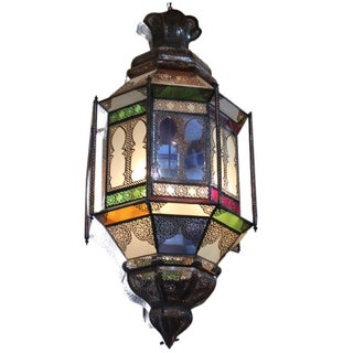 Moroccan Large Brass & Colored Glass Lantern