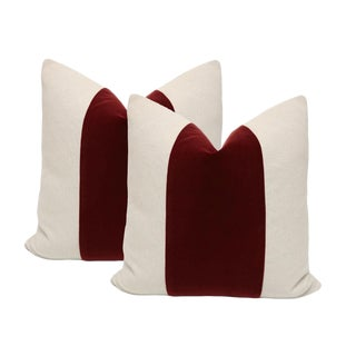 Oxblood Velvet Panel & Linen Pillows - A Pair
